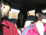 """Driving to Eastman (Qc) (""""Feastman"""" - 2008) (Image of Celinka Serre, with Francis Leduc and Simon Aubut)"""