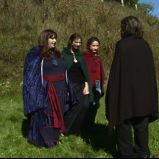 "The witches amuse themselves with Macbeth (""A Game Through Time"" - 2005-2006) (Image of Celinka Serre, with Valérie Séguin, Denise Paquet and Tommy Furino)"