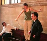 """Demonstrating (Behind-the-Scenes) (""""Talmeh"""" - 2004-2005) (Image of Celinka Serre, with Tommy Furino and Geoffrey Applebaum)"""