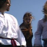 "Revealing their presence for the first time to Macbeth (""A Game Through Time"" - 2005-2006) (Image of Celinka Serre, with Tommy Furino and Job Léveillée)"