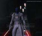 Relsor standing with lightsabers powered on (w)
