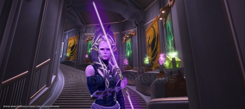Trylia with lightsaber in Temple v2 (w)