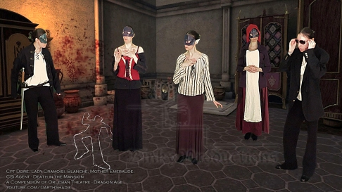 CSI Agent (w group) (Death in the Mansion - Dragon Age) (Celinka Serre DarthShadie Lavellan)